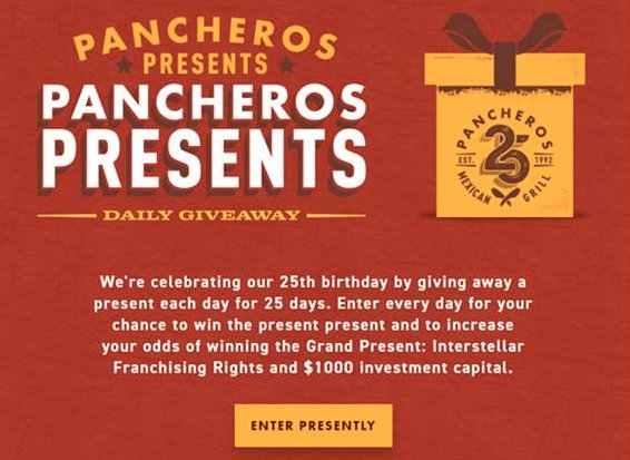 Pancheros Celebrates 25 Years with Daily Giveaways
