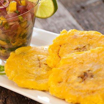 Aji Tuna Poke with Mango Ponzu and Tostones