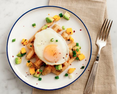 Waffles with Fried Eggs and Mango Salsa