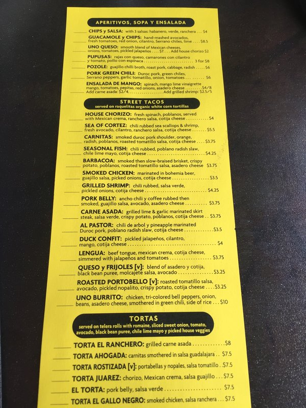 Menu from Uno Mas Taqueria in Denver