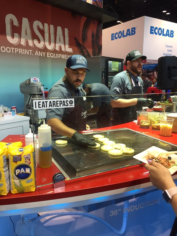 arepas in Middleby booth.JPG