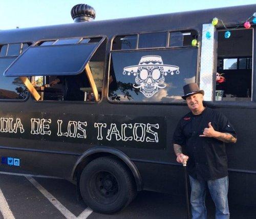 Tony McBride outside his food truck, Dia De Los Tacos, in Hawaii