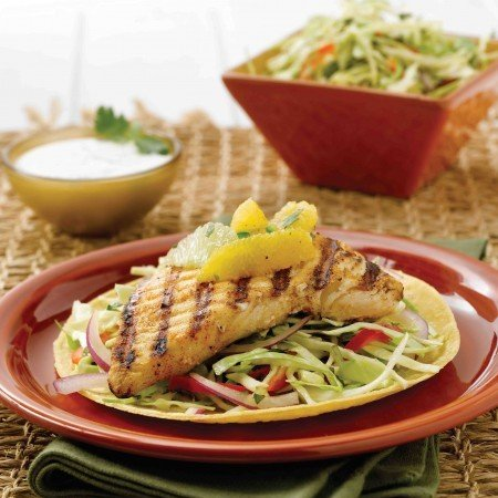 Alaska Fish Tacos with Citrus Salsa and Cabbage Slaw
